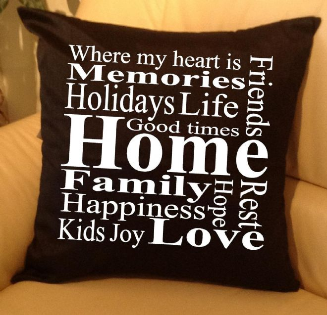 Home - family text pillow, sofa cushions